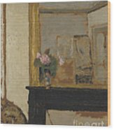 Vase Of Flowers On A Mantelpiece Wood Print