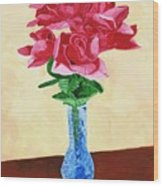 Vase Of Red Roses Wood Print