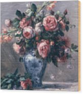 Vase Of Roses Wood Print by Pierre Auguste Renoir