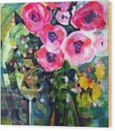 Vase Of Roses Wood Print