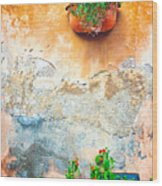 Vase On Decayed Wall Wood Print