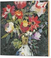 Vase With A Bird Wood Print