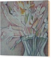 Vase With Flowers Wood Print