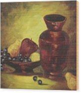 Vase With Fruit Bowl Wood Print