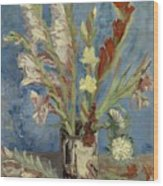 Vase With Gladioli And Chinese Asters Wood Print