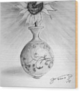 Vase With One Sunflower Wood Print