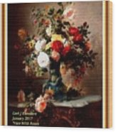 Vase With Roses And Other Flowers L A With Decorative Ornate Printed Frame. Wood Print