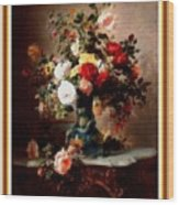 Vase With Roses And Other Flowers L B With Decorative Ornate Printed Frame. Wood Print