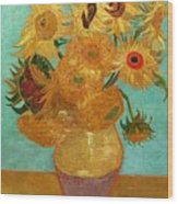 Vase With Twelve Sunflowers Wood Print