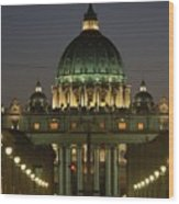 Vatican, Rome, Italy.  Night View Wood Print by Richard Nowitz