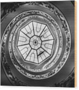 Vatican Staircase Looking Up Black And White Wood Print