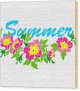 Vector Round Frame Isolated With Summer Flowers In Vintage Style Wood Print