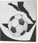 Vector Soccer Ball. Corner Kick Graphic Symbol Wood Print