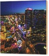 Vegas At Dusk Wood Print