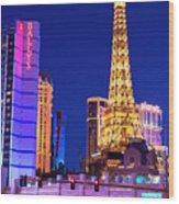 Vegas Strip At Night Wood Print