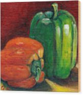 Vegetable Still Life Green And Orange Pepper Grace Venditti Montreal Art Wood Print