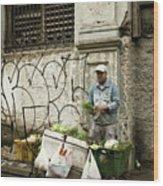 Vegetable Vendor Havana Cuba Wood Print