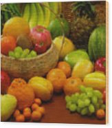 Vegetables And Fruits  Wood Print