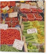 Vegetables At Italian Market Wood Print