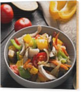 Vegetables Stir Fry Wood Print
