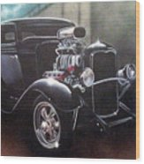 Vehicle- Black Hot Rod  Wood Print