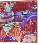 Vehicle Engine Close Up Wood Print