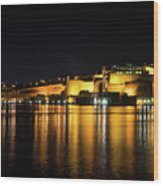 Velvety Reflections - Valletta Grand Harbour At Night Wood Print
