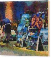 Vendedor De Pinturas Wood Print