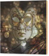 Venetian Golden Mask Wood Print