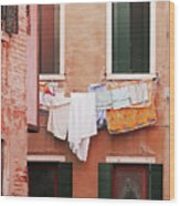 Venetian Laundry In Peach And Pink Wood Print