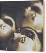 Venetian Masquerade Mask Rings Wood Print