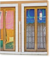 Venetian Window Reflections Wood Print