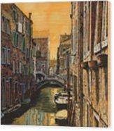 Venezia Al Tramonto Wood Print