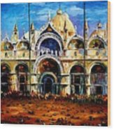 Venice - Pigeons On San Marco Square Wood Print