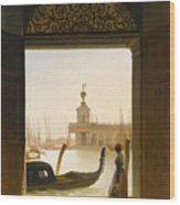 Venice A View Of The Dogana Seen Through A Large Doorway Wood Print