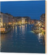 Venice And The Grand Canal In The Evening Wood Print