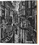 Venice At Night Wood Print