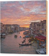 Venice At Sunset - Italy Wood Print
