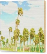 Venice Beach In Windy Pastels Wood Print