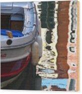 Venice Boat Reflection Wood Print