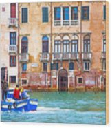 Venice Boat Under The Rain Wood Print