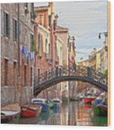 Venice Bridge Crossing 5 Wood Print