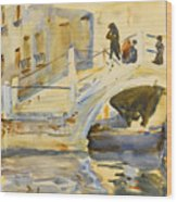 Venice. Bridge With Figures  Wood Print