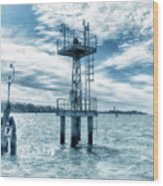 Venice - Buoy And Mooring In The Lagoon Wood Print