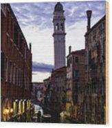 Venice Canal At Dusk Wood Print