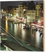 Venice Canal At Night Wood Print by Patrick English