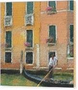 Venice Canal Boat Wood Print