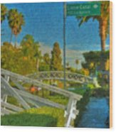Venice Canal Bridge Signs Wood Print