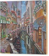 Venice Canal Reflections Wood Print