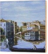 Venice Canal Ride Wood Print